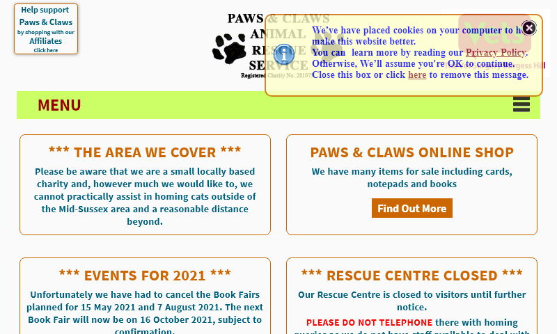 pawsandclaws-ars.org.uk